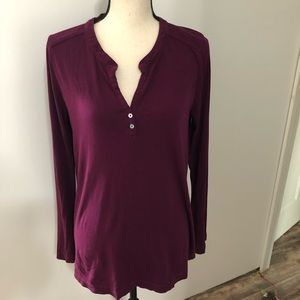 NWT! Chaser plum color Henley top blouse M